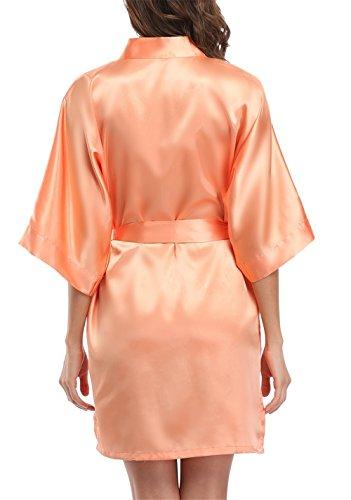 Giova Pure Color Satin Short Silky Bathrobe Sleepwear Nightgown Pajama  7736f7e44