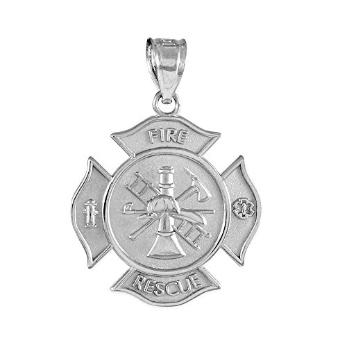Sterling Silver Fire Rescue Maltese Cross Firefighter Badge ()