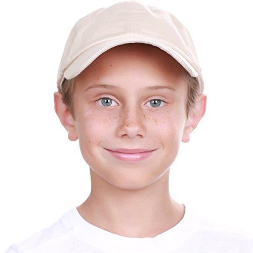 KBC-13LOW STN (6-9) Kids Boys Girls Hats Washed Low Profile Cotton and Denim Plain Baseball Cap Hat Unisex Headwear