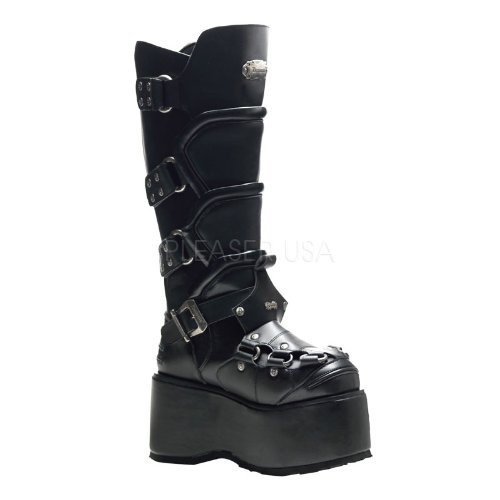 Demonia Strap Calf Boot Black Pu Platform Goth Punk amp; With 4 Stud Zipper rFqxrR0wt