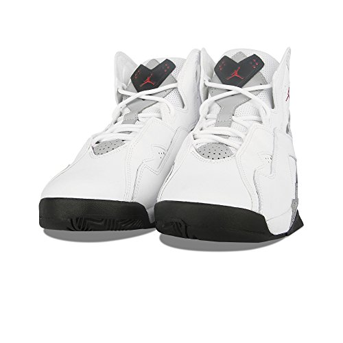 Black Jordan Shoes (Jordan Nike Kids True Flight BG White/Gym Red/Black/Wolf Grey Basketball Shoe 7 Kids US)