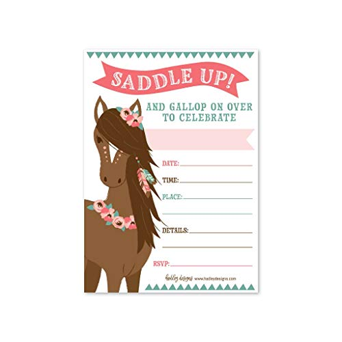 Horse Party Invitations (25 Pony Birthday Party Invitation, Horse Farm Barn Little Girl Invite, Cowgirl Western Rodeo Spirit Kids Themed Bday Supply Idea, Animal Modern Feathers Printed or Fill in The Blank)