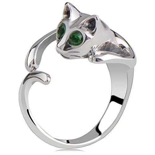 (Cute Green Gem Eyed Persian Cat Ring Adjustable Cute Cat Ring for Women,Girls Adjustable)