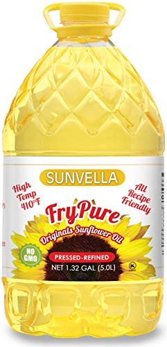 SUNVELLA FryPure Non-GMO Original Sunflower Oil, Pressed-Refined 1.32 GAL (5.0L)