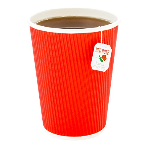 500-CT Disposable Red 12-OZ Hot Beverage Cups with Ripple Wall Design: No Need for Sleeves – Perfect for Cafes – Eco-Friendly Recyclable Paper – Insulated – Wholesale Takeout Coffee Cup