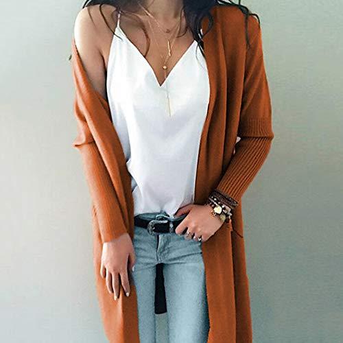 Marron Poche Manteau avec Mode Pull Femme Solide Pull Tricot Tricot Cardigan Manche Cardigan Tops Hiver Longue TwqZp1