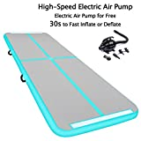 SUDOO 10ft Inflatable Air Track Gymnastics Tumbling Mat w/Electric Air Pump Floor Mat for Home Gym Outdoor Fitness Training Landing Mat | Exercise Yoga Martial Art Mat