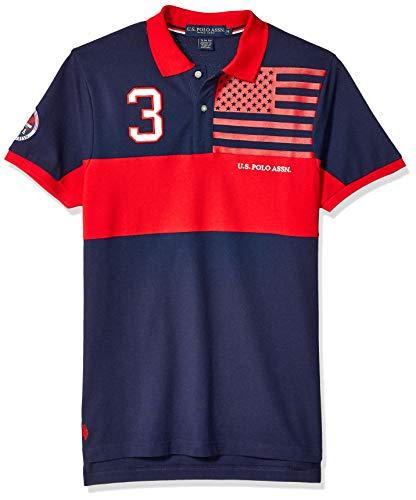 - U.S. Polo Assn. Men's Slim Fit Color Blocked Pique Polo Shirt, Classic Navy, L