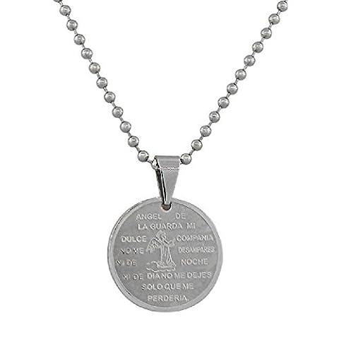 Stainless Steel Silver Guardian Angel De La Guarda Religious Pendant Necklace