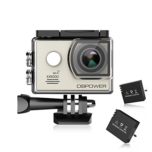 DBPOWER EX5000 Action Camera WiFi 1080P HD Sport Camera 14MP 170 Degree Wide Angle 2 Inch LCD Screen 2 Rechargeable Batteries 16 Accessories Kits Action Cameras DBPOWER