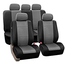 FH Group PU002GRAYBLACK115 Gray/Black Faux Leather Seat Cover (Full Set Airbags Ready and Split Bench Auto)