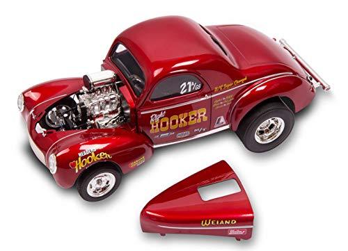 - 1941 Gasser Hooker Headers Metallic Red 1/18 Diecast Model Car by Acme A1800910