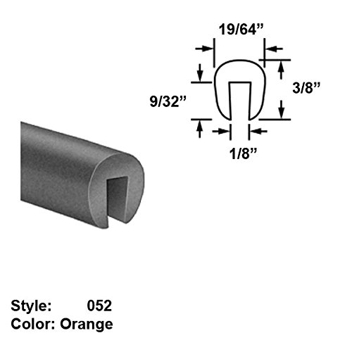 Silicone Foam High-Temperature U-Channel Push-On Trim, Style 052 - Ht. 3/8'' x Wd. 19/64'' - Orange - 25 ft long by Gordon Glass Co.