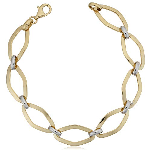 14k White And Yellow Gold Marquise Link Womens Bracelet, - 14k Marquise Bracelet