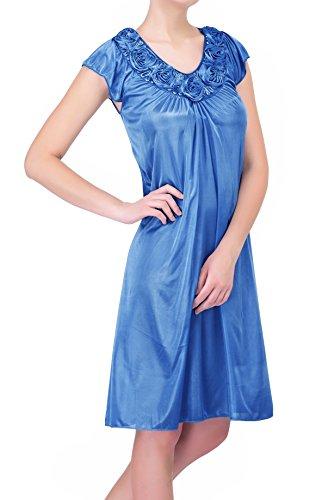 (Ezi Women's Satin Silk Roses Nightgown,Light Pink,2X )