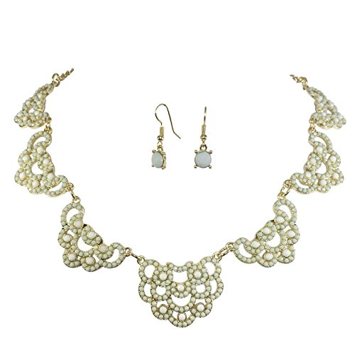 [Sweet Lace Look Dot Bubble Gold Tone Boutique Statement Necklace Earrings Set - Assorted colors (Light] (Little Girl Gypsy Costumes)