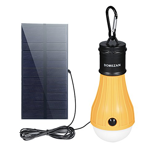 DOMEZAN Solar Light Indoor, Portable Outdoor Emergency Light Rechargeable 165 LM Bulb for Hurricane Off-Grid Home, Chicken Coop, Shed, Barn
