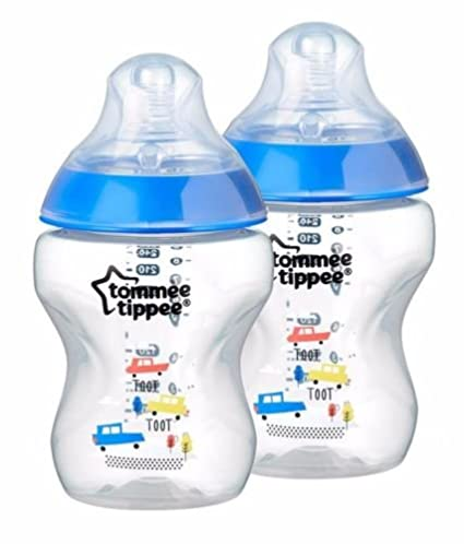 Tommee Tippee Closer to Nature Paquete de 2 Botellas Decoradas 0+ Meses Color Azul (Patrón Aleatorio): Amazon.es: Bebé