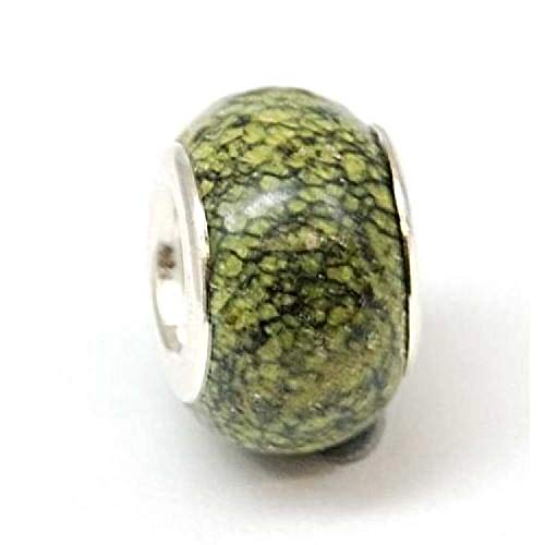 The Olivia Collection TOC BEADZ Olive Marble Effect 8mm Glass Slide-on Bead