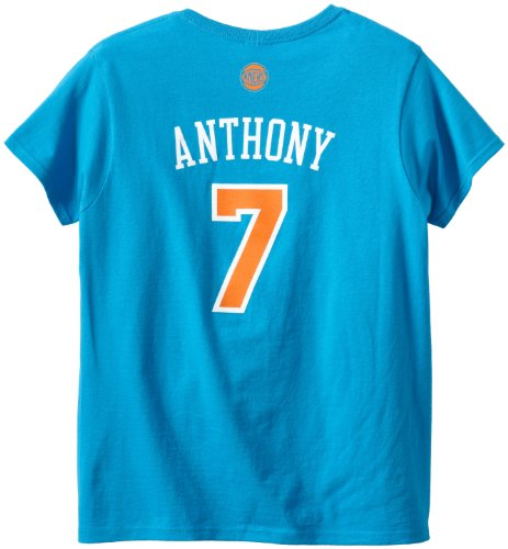 NBA New York Knicks Carmelo Anthony Women's Replica Name and Number Tee, Blue, Small