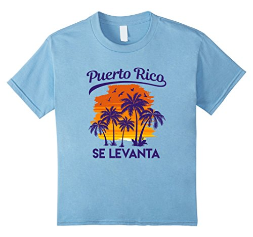 Beach Kids T-shirt (Kids Puerto Rico Se Levanta Palm Tree Sunset Beach Boricua Shirt 8 Baby Blue)