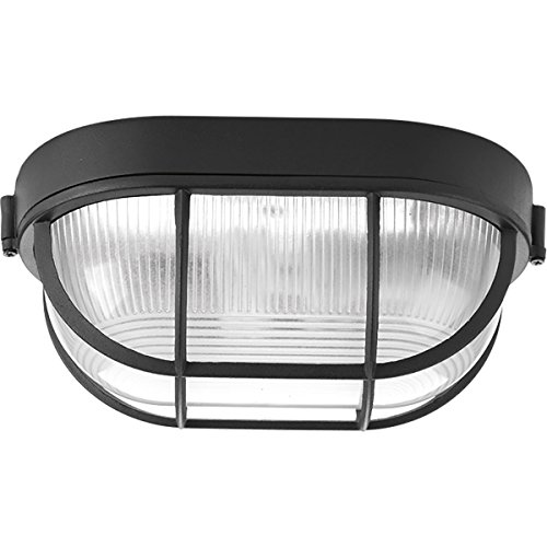 Progress Lighting P3706-31 Bulkheads One-Light Flush Mount, Black