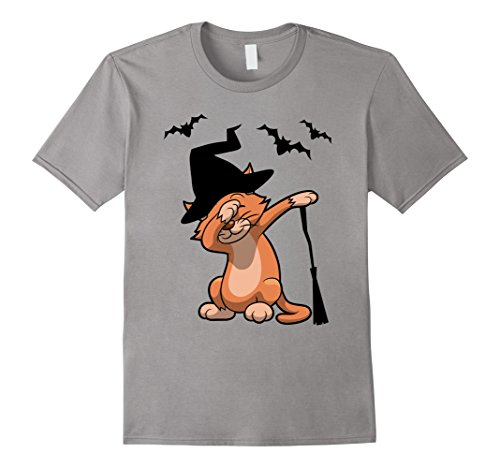 Mens adorable dabbing Halloween Cat with witch hat Tshirt Medium Slate - Halloween Costumes For Teenage Girls Cat