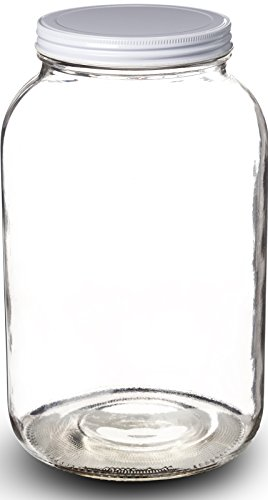 Paksh Novelty 1-Gallon Glass Jar Wide Mouth with Airtight Metal Lid - USDA Approved BPA-Free Dishwasher Safe Mason