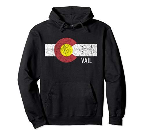 Colorado Vail Vintage Hoodie Flag Ski Distressed Retro Vibe