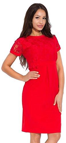 Chelsea Clark - Womens Lace Dress Empire Silhouette Crewneck - 580z (Red, US 6/8, S/M) ()
