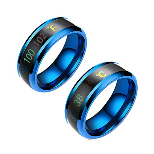 Temperature Monitor Rings, Digital Thermometer Body Temperature Sensor Smart Rings Wedding Couple Lovers Rings, Suitable Size Titanium Steel Wave Rings-blue-7#