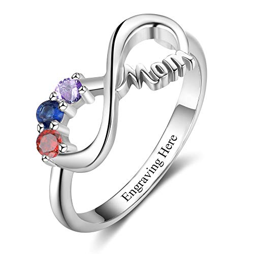 Personalized Mom Mothers Rings with 3 Simulated Birthstones Engravable Mothers Day Rings for Mom ()