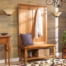 Stylish Hall Tree, Storage Bench, 2 Shelves and 4 Single Prong Metal Hooks for Ample Storage and Display Space, Sturdy and Long Lasting Solid Pine Wood Construction, Antique Pine Finish