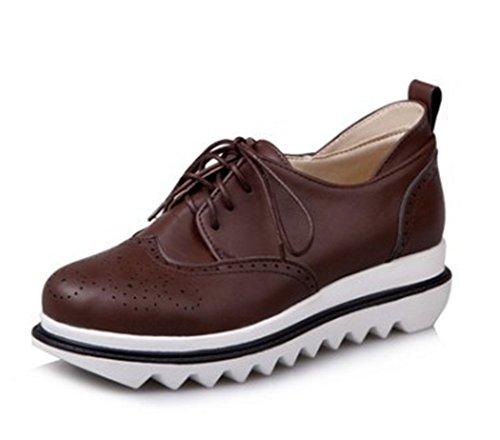 Easemax Dames Trendy Uitgesneden Veter Ronde Neus Laag Lage Hak Oxfords Sneakers Bruin Bruin
