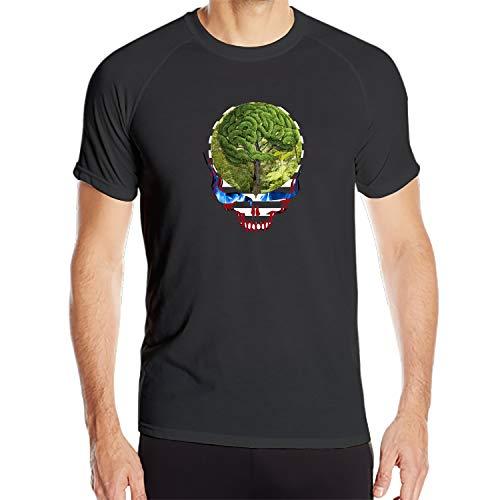(EXMENI Mens Grateful Dead Steal Your Face Green Tree Slim Crew Neck Tee Shirt)