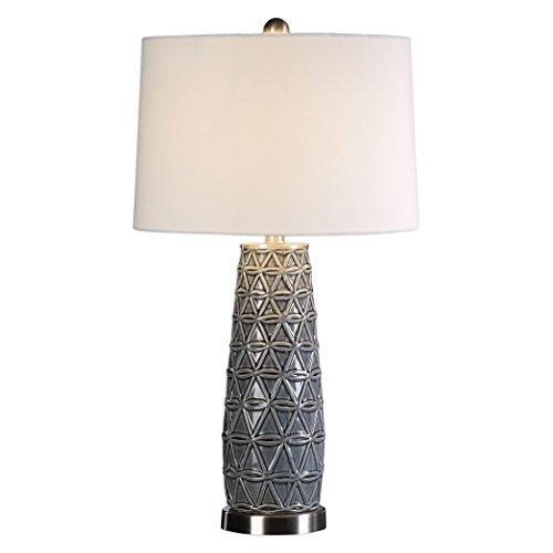 Embossed Gray Basketweave Table Lamp | Ceramic White Shade (Basketweave Lamp)