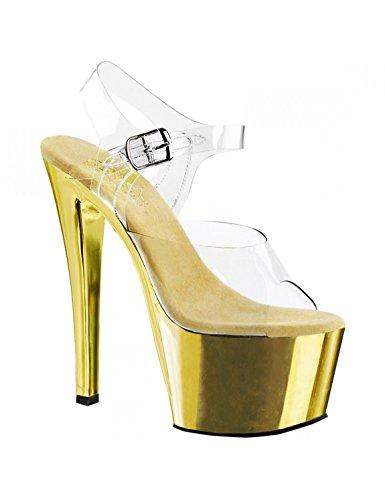"Pleaser Sky-308 Exotic Pole Dancing Shoes, Ankle Strap 7"" Heel Platform Sandal. Clear/Gold Chrome-Size 9"