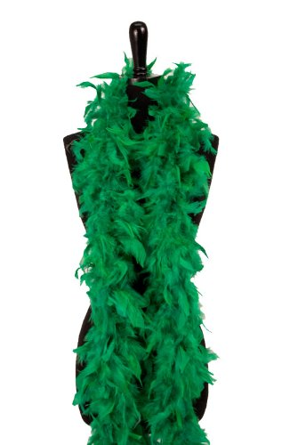 6' 60g Adult Feather Boa, - Mask Green Feather