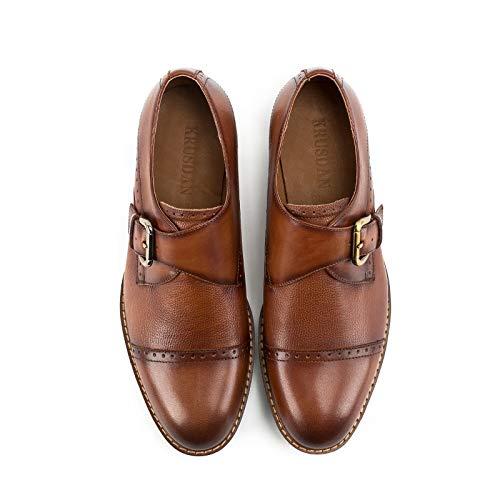 de Zapatos Genuino Hombres Color Correa Monk de Bodas Size Brown Vestido Oxfords EU Yao para Fiesta Borgoña Brass Formales Cuero Bullock 41 gIdpqY