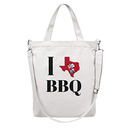 12.5X15 Inches Cute Zip Stylish Canvas Large Tote Bag For Women Texas Love BBQ Washable & Eco-Friendly Beach Work Gym Book Lunch School Shopping Shoulder Handbag