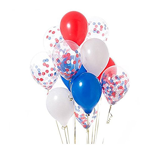 12'' Red Blue White Confetti Balloons Kit for Independence Day Royal Wedding,4th of July Party Favors(20 -
