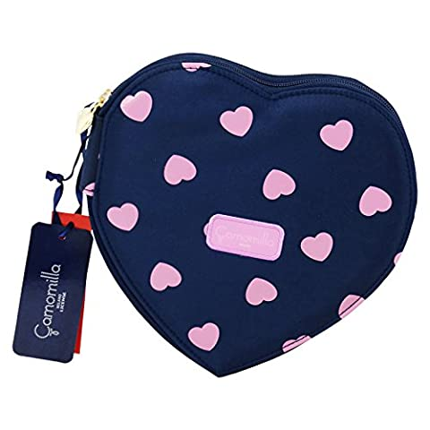 Camomilla Milano Hearts Pencil Case Pen Bag Pouch Stationary Case with Pencils Blue - Bashful Heart