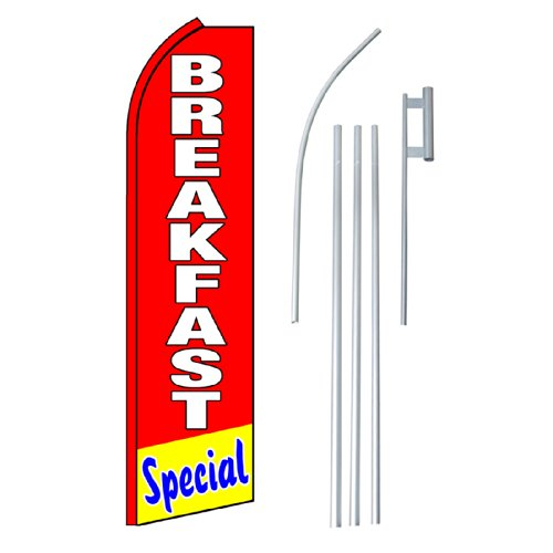 "NEOPlex - ""Breakfast Special"" Complete Flag Kit - Includes 12' Swooper Feather Business Flag With 15-foot Anodized Aluminum Flagpole AND Ground Spike"