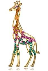Synthetic Topaz Rose Pink Body Synthetic Emerald Crystal Rhinestone Giraffe Fashionable Pin Brooch