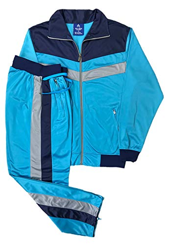 Men's rtGlad Activewear Track Pant and Track Jacket Sports Jogger Athletic Debut 90's Outfit Set (Aqua Blue, L)