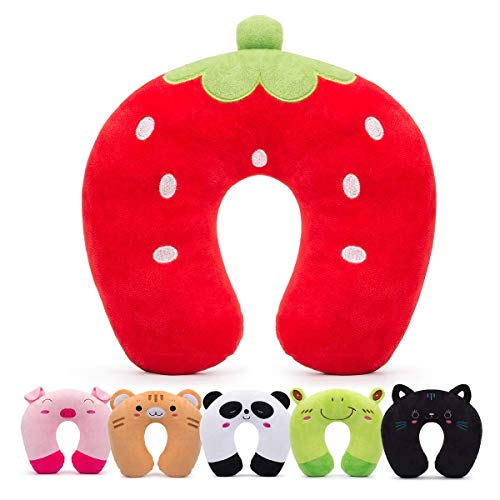 HOMEWINS Travel Pillow for Kids Toddlers - Soft Neck Head Chin Support Pillow, Cute Animal, Comfortable in Any Sitting Position for Airplane, Car, Train, Machine Washable, Children Gift (Strawberry)