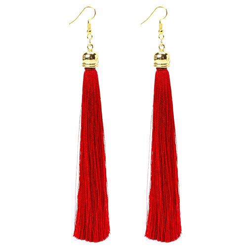 Niceskin Long Thread Tassel Dangle Drop Earrings for Women, Zinc Alloy and Fiber (Nickel Emerald Pearl)