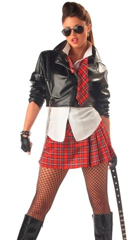 Sexy Adult Halloween Costume Punk School Girl Outfit