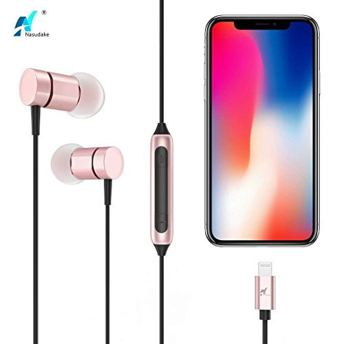 NASUDAKE MFi A1 Plus iPhone Earbuds, Stereo Lightning Headphones w/Noise Cancelling Siri Active Feature Lightning In-Ear Wired Earphone w/Mic & Remote for iPhone X, 8/8 Plus (Rose Gold) by Nasudake (Image #7)
