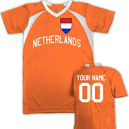 Customized Netherlands Soccer Jersey Youth Medium in Orange and White